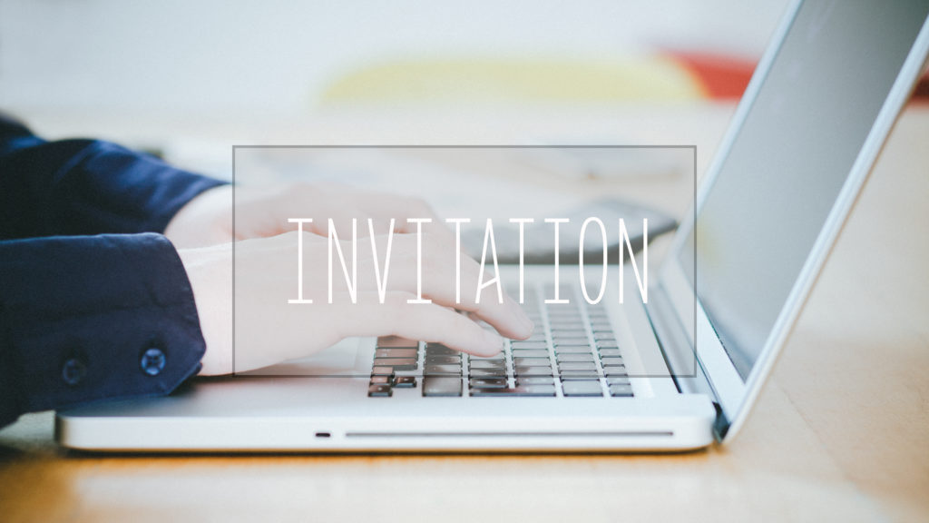 Invitation, text over young business man typing on laptop at desk in office environment